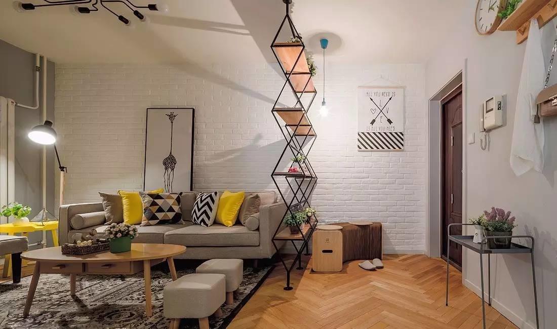 【天津塞纳春天装饰】这个北欧风格的婚房有意思,玄关隔断是花架